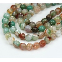 Striped Agate Beads, Olive Green and Brown, 6mm Faceted Round