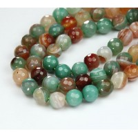 Striped Agate Beads, Olive Green and Brown, 8mm Faceted Round