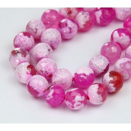Fire Agate Beads, Pink, 10mm Faceted Round