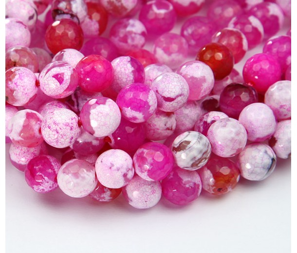 Fire Agate Beads, Pink, 8mm Faceted Round