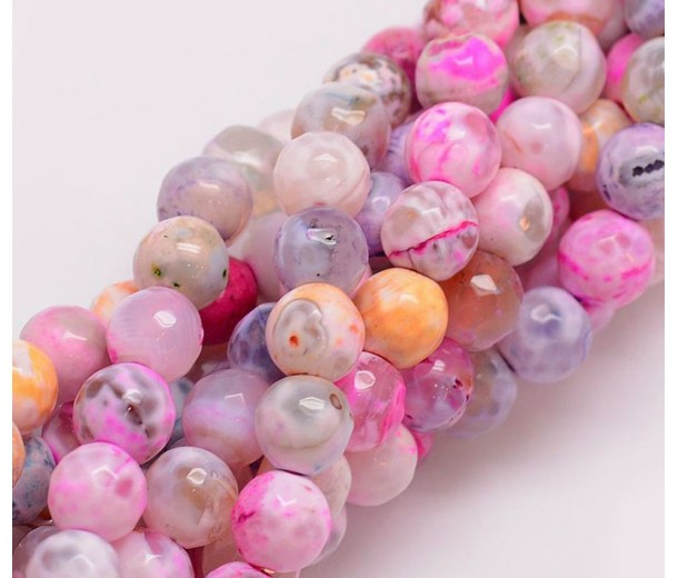 Fire Crackle Agate Beads, Pearl Pink, 8mm Faceted Round