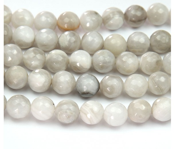 Crazy Lace Agate Beads, Natural Grey, 10mm Faceted Round