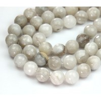 Crazy Lace Agate Beads, Grey, 8mm Faceted Round