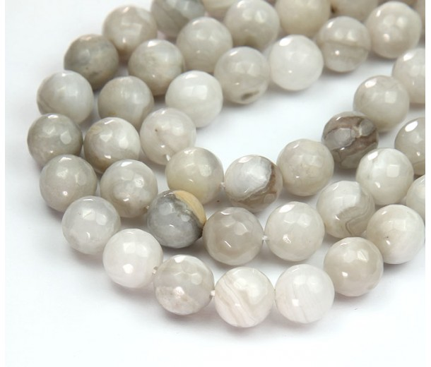 Crazy Lace Agate Beads, Grey, 10mm Faceted Round