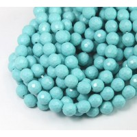 Imitation Turquoise Beads, Light Blue, 6mm Faceted Round