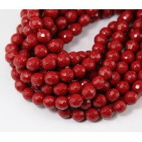 Imitation Turquoise Beads, Dark Red, 6mm Faceted Round
