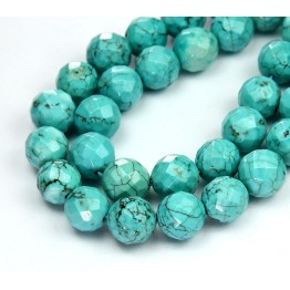 Magnesite Beads, Light Teal, 8mm Faceted Round