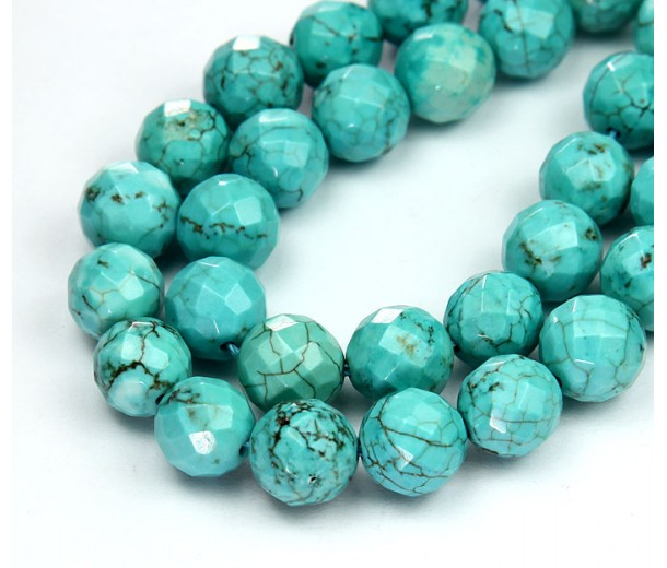 Magnesite Beads, Light Teal, 10mm Faceted Round