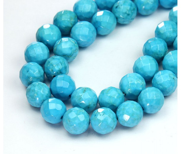 Magnesite Beads, Light Blue, 10mm Faceted Round