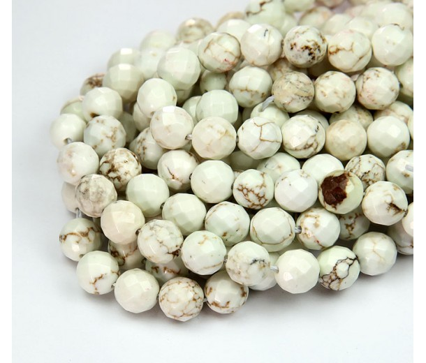 Magnesite Beads, Natural, 8mm Faceted Round
