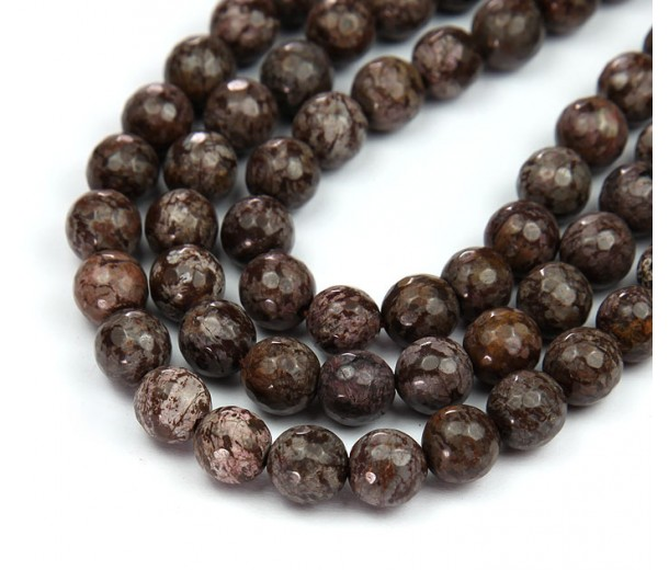 Brown Snowflake Obsidian Beads, 10mm Faceted Round