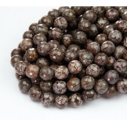 Brown Snowflake Obsidian Beads, 8mm Faceted Round