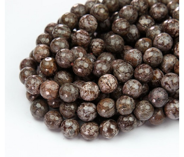 Brown Snowflake Obsidian Beads, Natural, 7-8mm Faceted Round