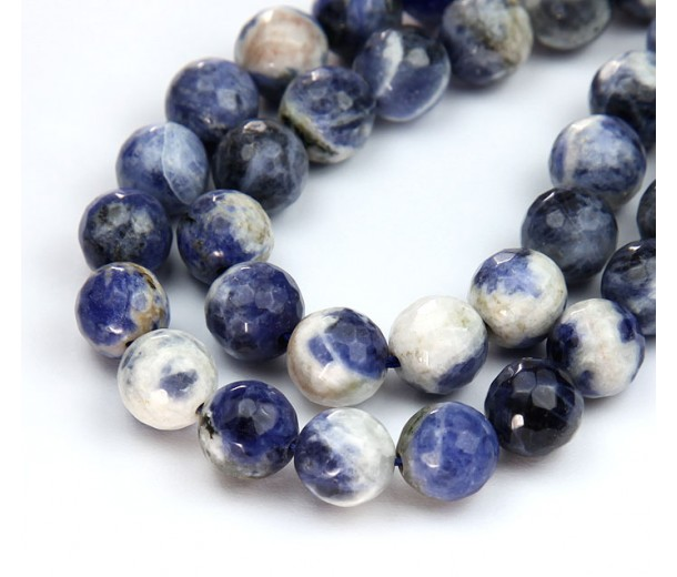 Sodalite Beads, Blue and White, 10mm Faceted Round