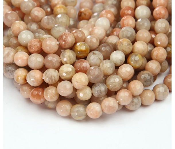 Sunstone Beads, 6mm Faceted Round