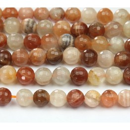 Sunstone and Moonstone Mix, 8mm Faceted Round