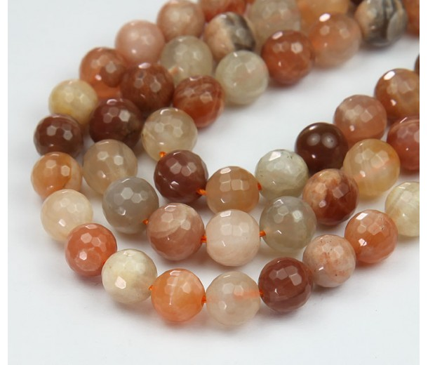 Sunstone and Moonstone Mix, 6mm Faceted Round