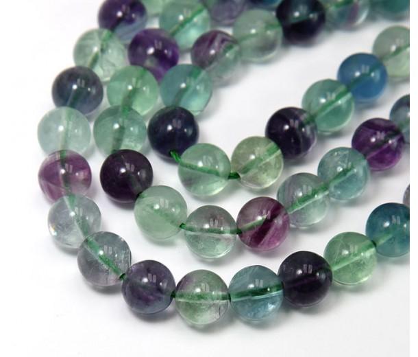 Rainbow Fluorite Beads, 10mm Round
