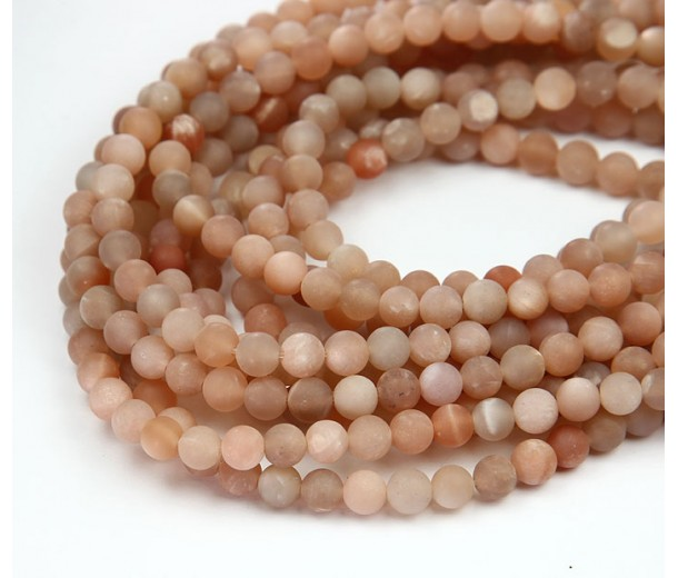 Matte Sunstone Beads, 6mm Round