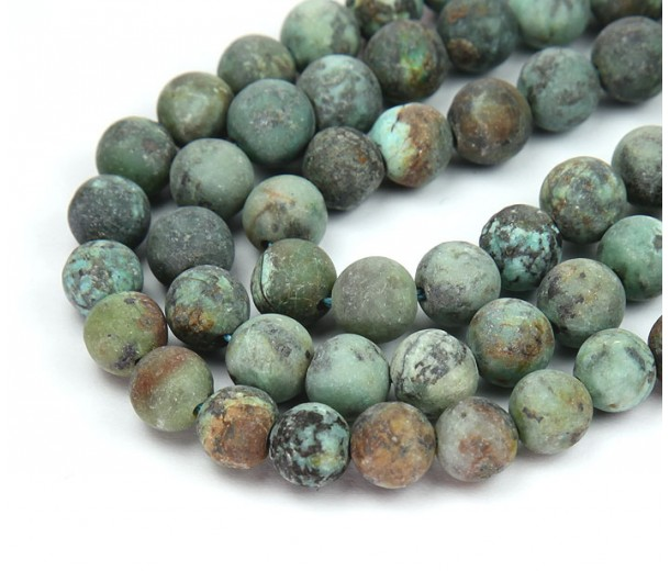 Matte African Turquoise Beads, 10mm Round