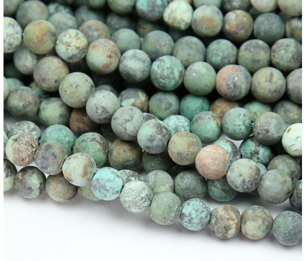 Matte African Turquoise Beads, 6mm Round