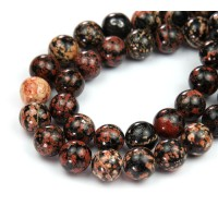 Red Snowflake Obsidian Beads, 8mm Round