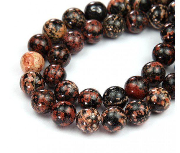 Red Snowflake Obsidian Beads, 10mm Round