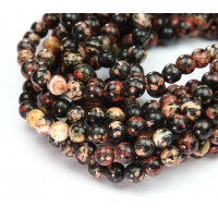 Red Snowflake Obsidian Beads, 6mm Round