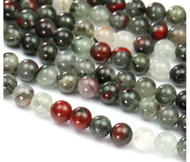 Bloodstone Jasper Beads, Natural, 10mm Round