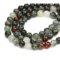 Bloodstone Jasper Beads, Natural, 8mm Round