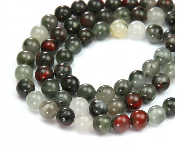 Bloodstone Jasper Beads, Natural, 8mm Round