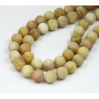 Matte Yellow Sunstone Beads, 10mm Round