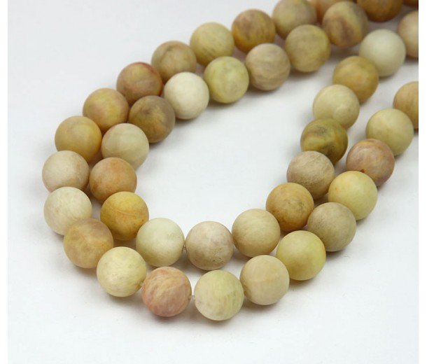 Matte Yellow Sunstone Beads, 10mm Round