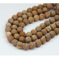 Matte Wood Jasper Beads, 8mm Round