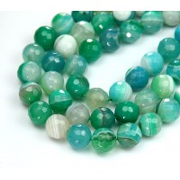 Agate Beads, Green and Blue, 10mm Faceted Round