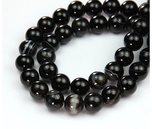 Striped Agate Beads, Black, 10mm Round