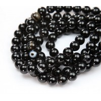 Striped Agate Beads, Black, 8mm Round