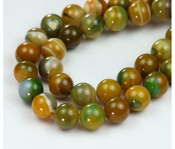 Striped Agate Beads, Yellow Green, 10mm Round
