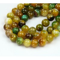 Striped Agate Beads, Yellowgreen, 8mm Round