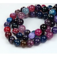 Striped Agate Beads, Multicolor, 8mm Round