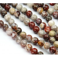 Crazy Lace Agate Beads, Red, 8mm Round