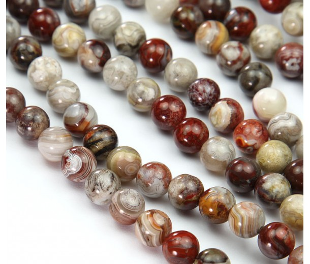 Crazy Lace Agate Beads, Grey and Red, 8mm Round