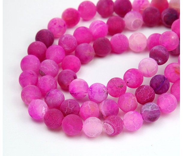 Frosted Agate Beads, Fuchsia Pink, 8mm Round