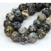 Matte Ocean Jasper Beads With Druzy, 12mm Round