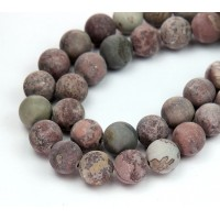 Matte Artistic Jasper Beads, Red Brown, 10mm Round