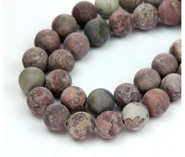 Matte Artistic Jasper Beads, Natural, Grey and Brown, 8mm Round
