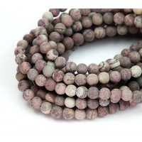 Matte Artistic Jasper Beads, Grey and Brown, 6mm Round