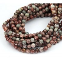 Artistic Jasper Beads, Natural Grey and Brown, 6mm Round