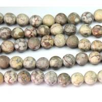 Matte Ocean Fossil Jasper Beads, 8mm Round