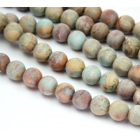 Matte Snakeskin Jasper Beads, 10mm Round